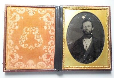 Cased Ambrotype Image Of A Man Large Quarter Plate Measures  5X6 Inches