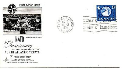 CANADA 1959 FDC - 10th ANN. OF THE SIGNING OF THE NORTH AMERICAN TREATY (NATO)