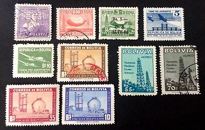 10 old stamps Bolivia