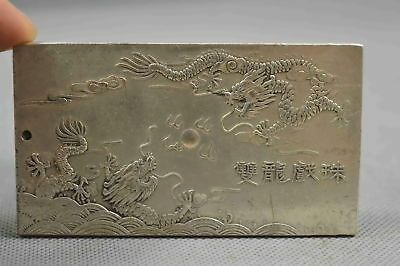 Collectable Handwork Old Miao Silver Carve Mighty Dragon Amulet Exorcism Pendant