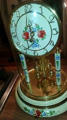 "Vintage Working KOMA 12"" tall/6"" Diameter Anniversary Clock with 11"" Glass Dome"