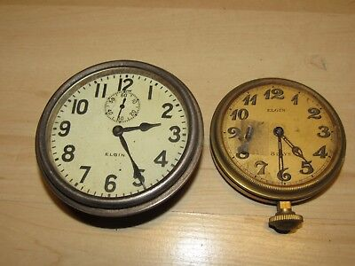 2 Antique Elgin 8-Day Car Clocks For Parts Or Repair Not Working As Is