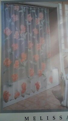 Excell Home Fashions Shower Curtain Mildew Resistant Fabric ROSES