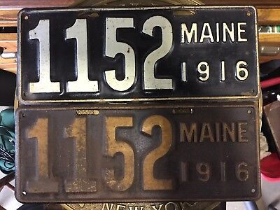 Pair 1916 Maine License Plates No Reserve 1 Family Owned,