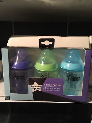 Tommee Tippee Closer to Nature Colour My World 3 Feeding Bottles 3x260 ml Boys