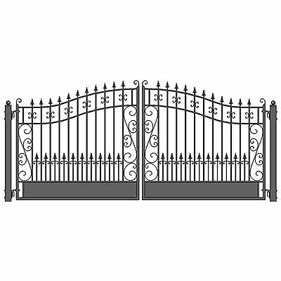 ALEKO Venice Style Ornamental Iron Wrought Dual Driveway Gate 16' High Quality
