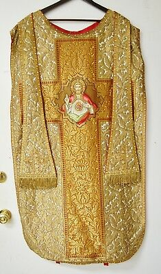 Spanish Hand Embroidered Vestment Chasuble And Stole - 607 - Sacred Heart