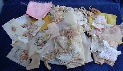 Large Lot of Antique  Lace Trims Assorted Estate Find Doll Collector