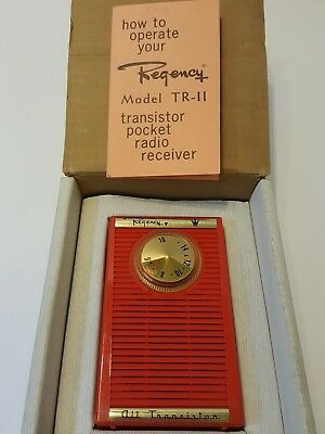 Regency TR-11 Red Transistor Radio 1959 with Box and Operator's Manual