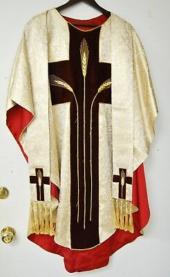Cream And Gold Brocade Vestment Chasuble And Stole - 650