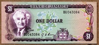 Jamaica XF Note 1 Dollar Law 1960 ND 1970 P-54