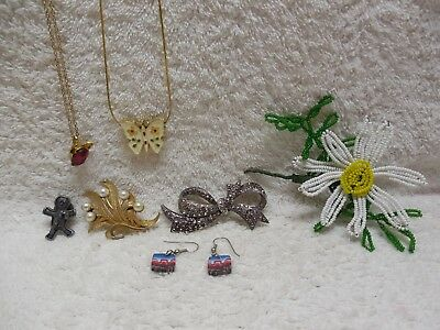 Lot of 7 Jewelry Pieces Roma Enamel Painted Desert Antique French Glass Beads