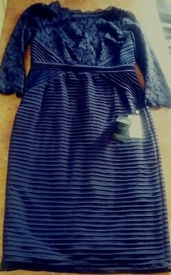 Adrianna Papell Navy Blue Lace 3/4 Sleeve Sheath Evening Dress Size 8 MSRP $189