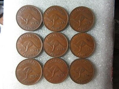 PENNIES     1945 - 1951   9  different  COINS    inc 1948y.