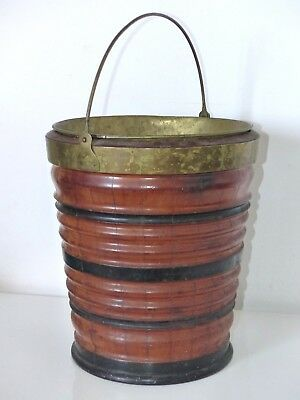 RARE Large Antique 19th Century Dutch Peat Bucket + Brass Liner – 13 Inches