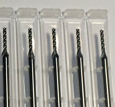 """1/16"""" Dia x 1/2"""" Cut 4 Flute Square Solid Carbide End Mill Made In USA 5-Pack"""