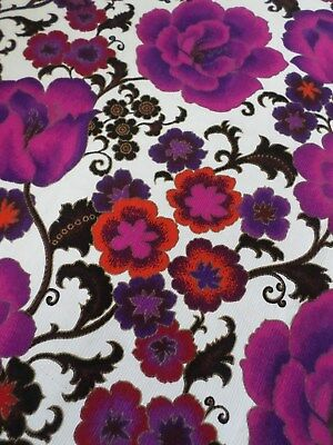 R V Purp Pink Red Black & White Floral Barkcloth/Pique Cott Weave ? Fabric..NEW