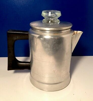 Vintage Comet aluminum 2 Cup Stove Top Camping percolator coffee pot USA made