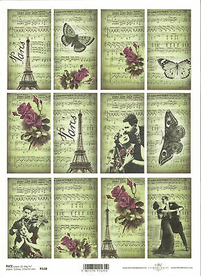 Rice Paper for Decoupage Scrapbooking Vintage Flowers Bike Paris A4 ITD R499