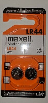 2 Maxell LR44 Alkaline Button Battery A76 L1154 AG13 357 SR44 303 1.5V EXP2016