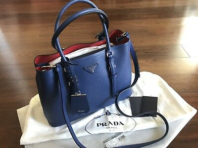 d022d430e158 ... clearance new authentic prada saffiano cuir medium double bag blue  handbag tote 16a10 53a61 cheapest ...