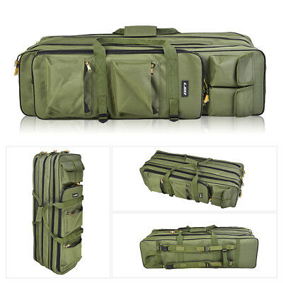 Fishing Rod Bag Case Tackle Holdall Fits 3 Fishing Rods with Reels Green Black