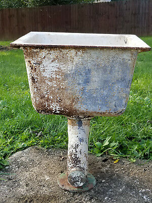 Antique Vintage Heavy Cast Iron Farm Sink w/ Drain Pipe P-Trap