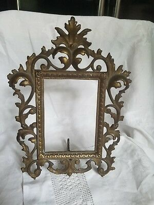 Antique/ Vintage Cast Iron Victorian Bronze/Brass Tone Photo Frame H 11 1/4""