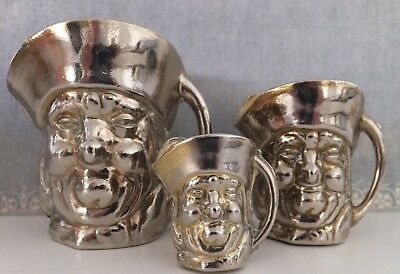 50s vintage collectable Set 3 Brass & Alloy Toby Jugs Made England Bar Man Shed