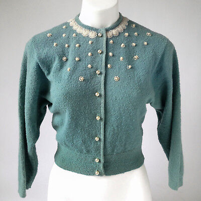 RARE Vtg 50s Pinup Blue Wool Cardigan Sweater Embroidered Beaded Cropped S - M