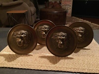 "NOS Large Vintage Brass Lions Head Curtian Tie Backs 4-3/4"" Wide Excellent"