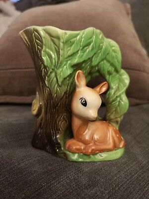 Vintage Eastgate Pottery Withernsea Fauna Vase Fawn by Tree