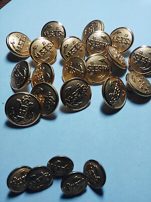 """Vintage Estate Military Waterbury buttons ~ lot of 23 ~ 7/8"""" & 5/8"""""""
