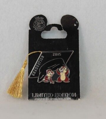 Disney Parks LE 2000 Pin Graduation Day 2015 Chip and Dale Cap Tassel