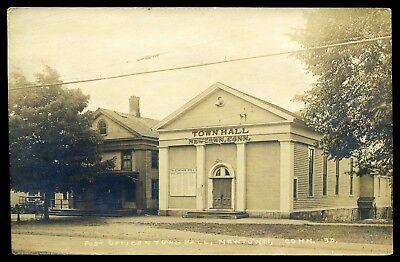 Newtown, Ct ~ Vintage Post Office & Town Hall Rppc