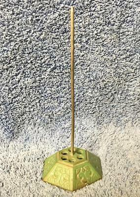 "Vintage Green Cast Iron Receipt Note 7"" Tall Spike Holder"