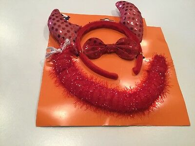 Instant Red Devil Costume Kit Horn Headband, Tail & Bowtie