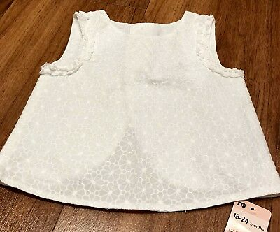 Girls White Cotton Sleeveless Top Size 18-24 Months - Mothercare - BNWTS
