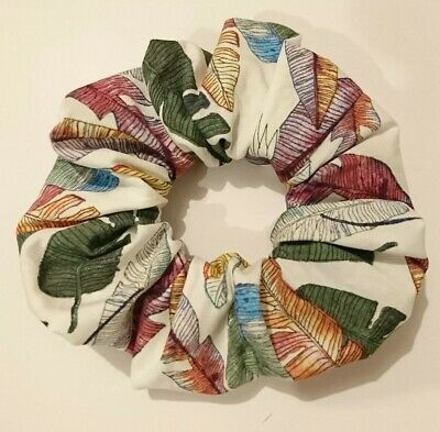 Handmade cotton hair Scrunchie ponytail holder retro leaves vintage retro wide