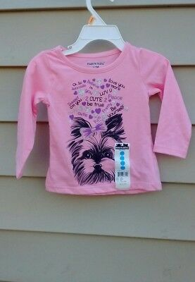 Max& Mini Girls Printed Tee 12 Months Long Sleeve  Cotton  Blend Pink
