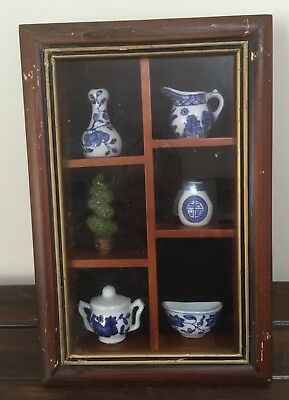 Vintage Wooden Display Box Wall Hanging With 6 Miniature Porcelain Ornaments
