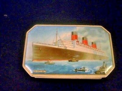 Benson's RMS Queen Mary Cunard Line-Vintage Candy Tin-1930's-50s-F/Ship