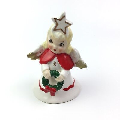 "Vtg Ucagco Ceramics Japan Christmas Angel Bell Holiday Wreath Star 3 1/2"" FLAWED"
