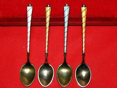 4 Mixed Danish Sterling Silver Demitasse Spoons with Guilloche Enamel Handles.