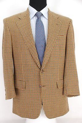 Chester Barrie Savile Row 2Btn Tweed Sport Coat Tan Brown Blue Check Men's 39R