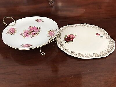 Two Antique China Cake Platters