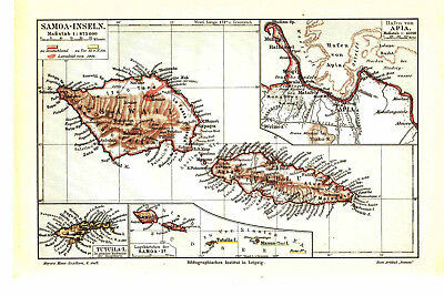 Antique map. SAMOA ISLANDS. 1905
