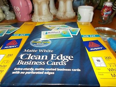 AVERY #28877 Clean Edge Matte White Ink Jet White Business Cards 200 Brand New!