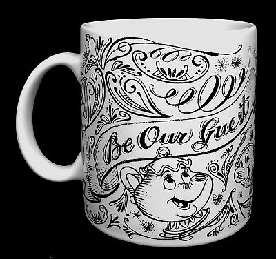 Disney Parks Chalkboard Beauty and the Beast Be Our Guest Coffee Mug White