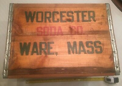 Vintage WORCESTER SODA CO WARE MASS USA WOOD BOTTLE ART SIGN ADVERTISING BOX